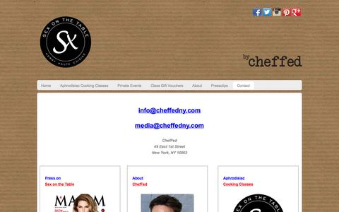 Screenshot of Contact Page cheffedny.com - Private Aphrodisiac Dining Experiences and cooking classes at Sex on the Table by ChefFed - captured Oct. 2, 2014