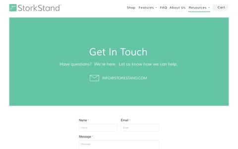 Screenshot of Contact Page storkstand.com - StorkStand Contact Us - captured Sept. 5, 2016