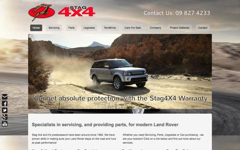 Screenshot of Home Page stag4x4.co.nz - Range Rover Specialists09 8274233 - Stag 4x4 are Specialists in Land Rover Repairs, Parts, & Upgrades - captured Dec. 19, 2015