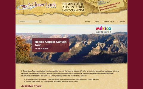 Screenshot of Home Page acloserlooktours.com - A Closer Look Tours – Experience classic Mexico A Closer Look Tours - Mexico Guided Tours - captured Oct. 1, 2014