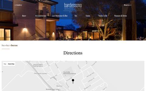 Screenshot of Maps & Directions Page bardessono.com - Bardessono Hotel & Spa, Yountville, Napa Valley: Directions to Bardessono - captured Sept. 16, 2016