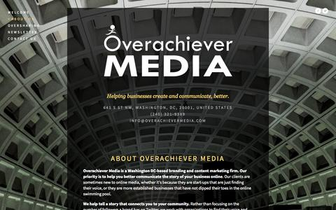 Screenshot of About Page overachievermedia.com - About Us — Overachiever Media - captured Sept. 30, 2014