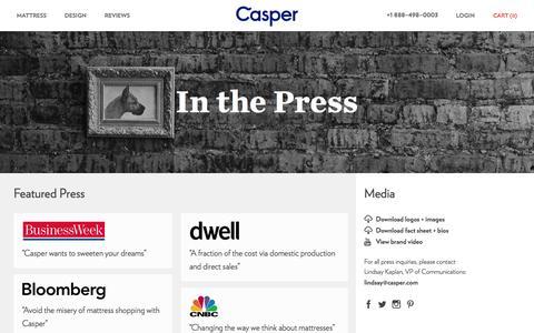 Screenshot of Press Page casper.com - Press | Casper — The Mattress Reimagined - captured Oct. 28, 2014