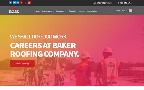 Screenshot of Jobs Page bakerroofing.com - Careers at Baker Roofing Company | Join a Winning Team - captured June 30, 2019