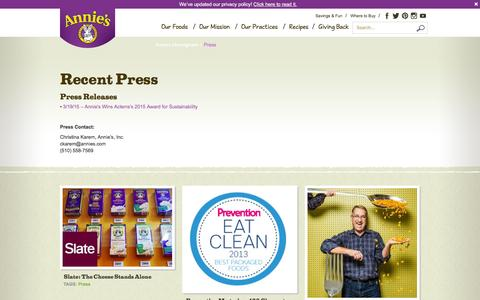 Screenshot of Press Page annies.com - Press - Annie's Homegrown - captured Feb. 6, 2016