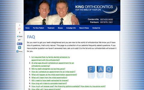 Screenshot of FAQ Page kingssmiles.com - FAQ About Orthodontic Braces & Orthodontists in Dayton Ohio - captured Oct. 6, 2014
