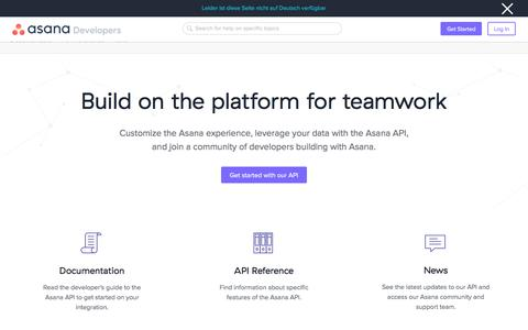 Screenshot of Developers Page asana.com - Asana Developers · Asana - captured Oct. 4, 2019