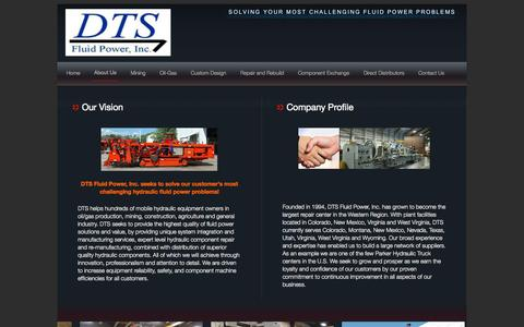 Screenshot of About Page dtsfluid.com - About Us | DTS Fluid Power - captured Oct. 5, 2014