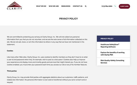 Privacy Policy | Clarity Group, Inc.