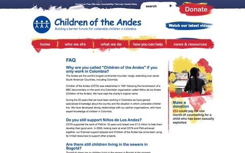 Screenshot of FAQ Page childrenoftheandes.org - FAQ ·  Children of the Andes - captured Sept. 29, 2014