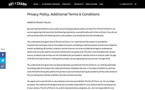 Privacy Policy, Additional Terms & Conditions • The Art of Charm