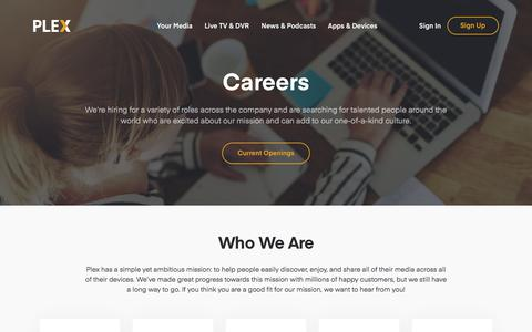 Screenshot of Jobs Page plex.tv - Careers | Plex - captured June 1, 2018