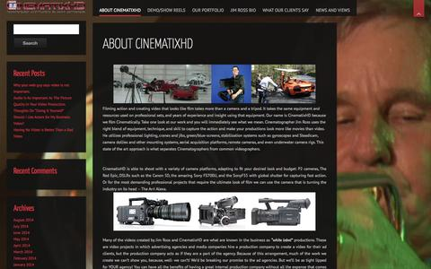 Screenshot of About Page cinematixhd.com - About CinematixHD | CinematixHD - captured Sept. 29, 2014