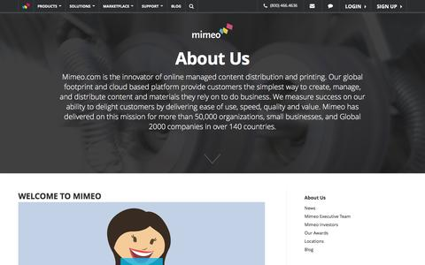 Screenshot of About Page mimeo.com - Learn About Us - Mimeo.com - captured Dec. 18, 2015