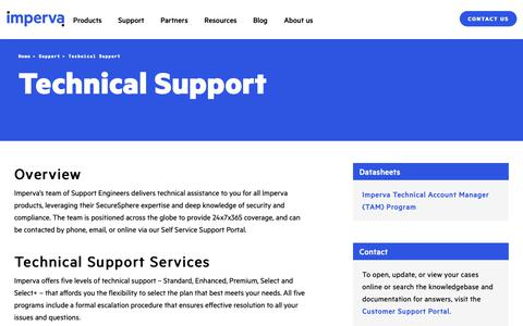 Screenshot of Support Page imperva.com - Technical Support | Imperva - captured April 1, 2019