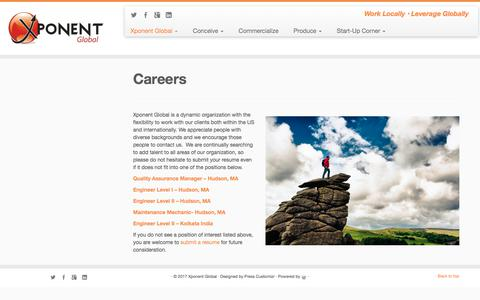 Screenshot of Jobs Page xponentglobal.com - Careers | Xponent Global - captured Nov. 4, 2017