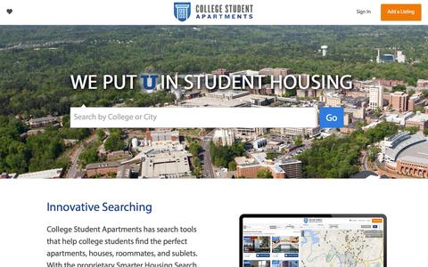 Screenshot of Home Page collegestudentapartments.com - College Apartments and Sublets | College Student Apartments - captured Dec. 10, 2015