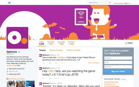 Screenshot of Twitter Page twitter.com - Optimum  (@optimum) | Twitter - captured Oct. 27, 2014