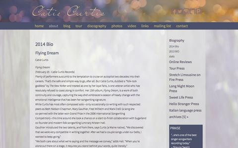 Screenshot of About Page catiecurtis.com - about - Catie Curtis - catie - Biography - captured Sept. 29, 2014