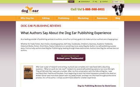 Screenshot of Testimonials Page dogearpublishing.net - Dog Ear Publishing Reviews - captured Aug. 2, 2016