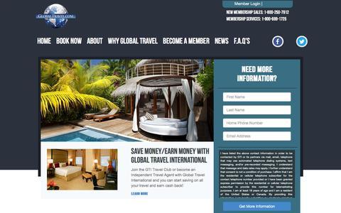 Screenshot of Home Page globaltravel.com - Global Travel International: Cruises, Hotels, Vacations, Cheap Flights - captured Dec. 1, 2015