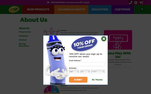 Screenshot of About Page crayola.com - About Us | crayola.com - captured July 21, 2018