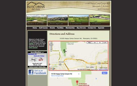 Screenshot of Maps & Directions Page rusticcanyongolfcourse.com - Rustic Canyon Golf Club - Moorpark Golf - captured Oct. 7, 2014