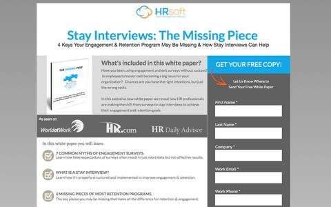 Screenshot of Landing Page hrsoft.com - Improve Employee Engagement & Retention with Stay Interviews - captured Sept. 6, 2016