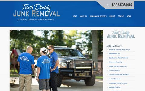 Screenshot of Pricing Page trashdaddyjunkremoval.com - Junk Removal Pricing | Trash Daddy Junk Removal - captured Feb. 23, 2016