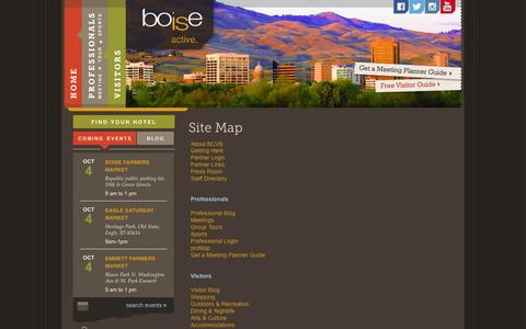 Screenshot of Site Map Page boise.org - Boise Convention & Visitors Bureau ::  site map - captured Oct. 5, 2014