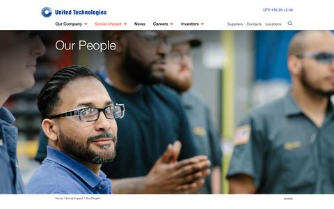 Screenshot of Team Page utc.com - Our People | United Technologies - captured April 13, 2019