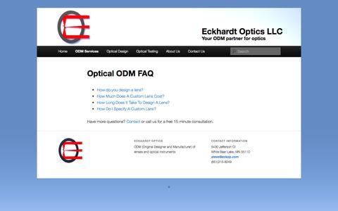 Screenshot of FAQ Page eckop.com - Optical ODM FAQ - Eckhardt Optics LLCEckhardt Optics LLC - captured Oct. 22, 2014