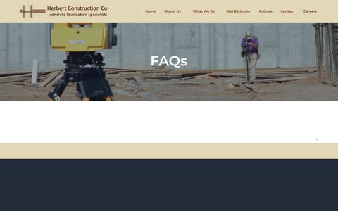 Screenshot of FAQ Page herbertconstruction.com - FAQs - Herbert Construction - captured Sept. 25, 2018