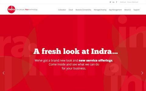 Screenshot of Home Page indra.com - Indra - App Hosting, Private Cloud, Managed Hosting - captured June 19, 2015