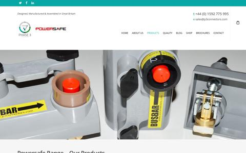 Screenshot of Products Page p3connectors.com - Powersafe Range | Products | Phase 3 Connectors Ltd | Scoltand - captured Oct. 18, 2016