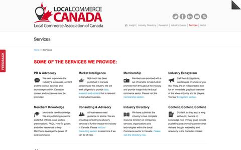 Screenshot of Services Page localcommercecanada.com - Services | Main association highlighting technologies and services helping local businesses market and sell to local customers. Local Marketing, Local Commerce - captured Oct. 3, 2014