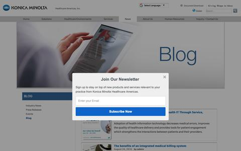 Screenshot of Blog konicaminolta.com - Blog | Konica Minolta Healthcare Americas, Inc. - captured Oct. 17, 2018