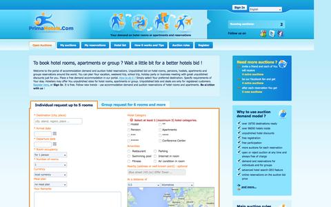 Screenshot of Home Page primahotels.com - PrimaHotels.Com | Auction bid hotel rooms reservations, deals, apartments and groups - captured Jan. 31, 2016