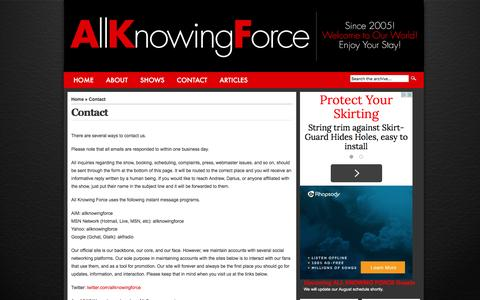 Screenshot of Contact Page allknowingforce.com - Contact   All Knowing Force - captured Dec. 24, 2015