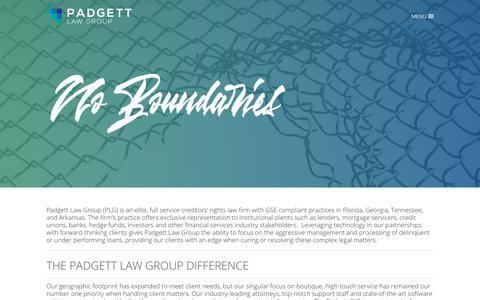 Screenshot of About Page padgettlawgroup.com - THE DIFFERENCE - Padgett Law Group - captured Oct. 9, 2018