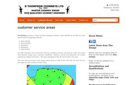 Screenshot of Support Page the-sweep.co.uk - Chimney Sweep Coverage Areas - Norfolk's Premier Chimney Sweeps - the-sweep - captured Nov. 10, 2018