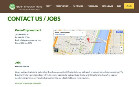 Screenshot of Contact Page greenempowerment.org - Contact Us / Jobs | Green Empowerment works with local partners around the world to strengthen communities by delivering renewable energy and safe water. - captured Dec. 14, 2015