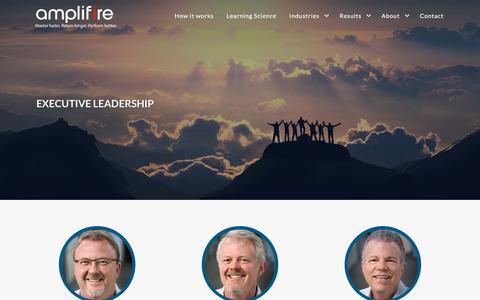 Screenshot of Team Page amplifire.com - Amplifire Learning Platform    Leadership - captured Sept. 20, 2018
