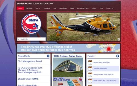 Screenshot of Home Page bmfa.org - British Model Flying Association - captured Oct. 5, 2014