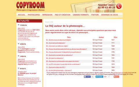 Screenshot of FAQ Page copyroom.fr - COPYROOM - La FAQ autour de la photocopie... - captured June 3, 2016