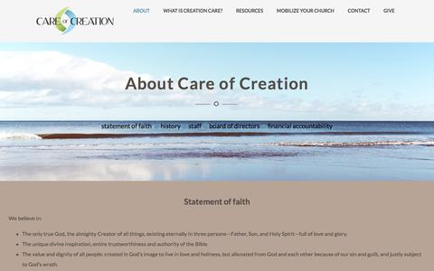 Screenshot of About Page careofcreation.net - About – Care of Creation - captured Oct. 21, 2016