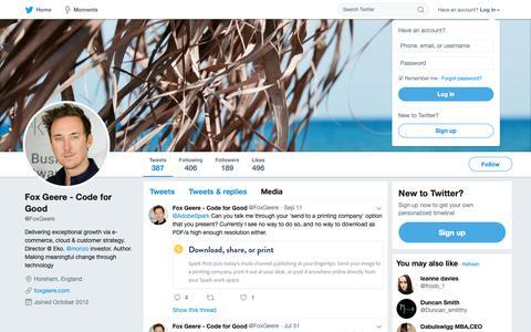 Screenshot of Press Page twitter.com - Media Tweets by Fox Geere - Code for Good (@FoxGeere) | Twitter - captured Oct. 11, 2018