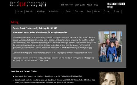 Screenshot of Pricing Page danielquatphoto.com - Pricing - Daniel Quat Photography - captured Jan. 21, 2016