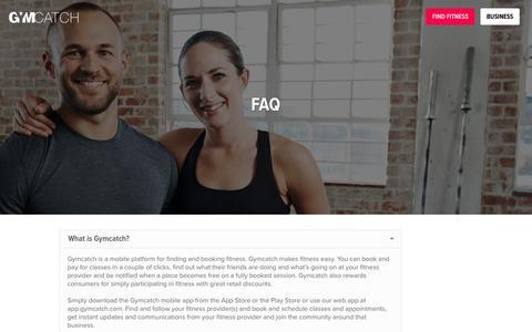 Screenshot of FAQ Page gymcatch.com - FAQ - Gymcatch - captured May 6, 2017
