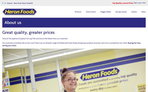 Screenshot of About Page heronfoods.com - About us - buying for less, saving you more - captured July 19, 2018